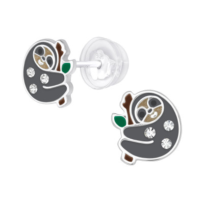 Premium Children's Silver Sloth Ear Studs with Crystal and Epoxy