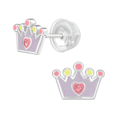 Premium Children's Silver Crown Ear Studs with Crystal and Epoxy