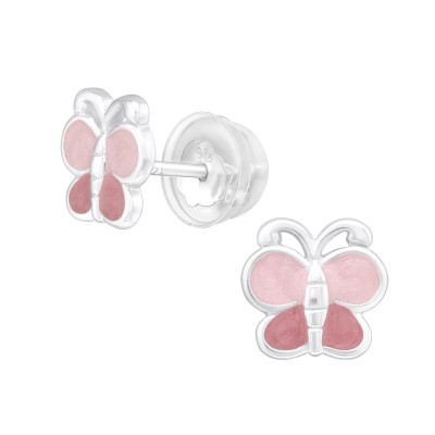 Premium Children's Silver Butterfly Ear Studs with Epoxy