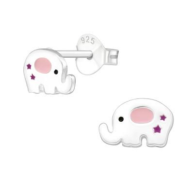 Children's Silver Elephant Ear Studs with Epoxy