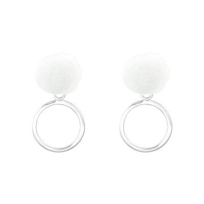 Children's Silver Pom-Pom with Hanging Circle Ear Studs