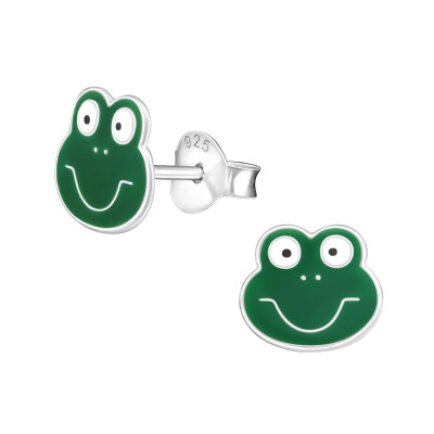 Children's Silver Frog Ear Studs with Epoxy