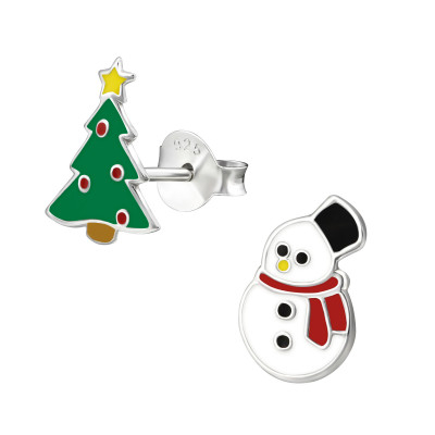Children's Silver Christmas Tree and Snowman Ear Studs with Epoxy
