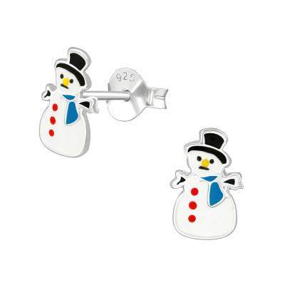 Children's Silver Snowman Ear Studs with Epoxy