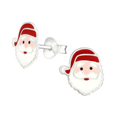 Children's Silver Santa Claus Ear Studs with Epoxy