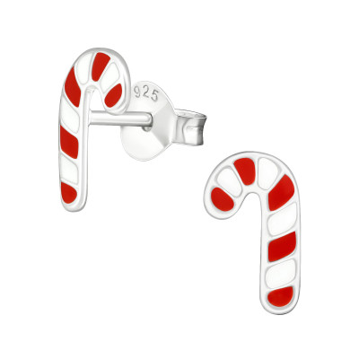 Children's Silver Candy Cane Ear Studs with Epoxy