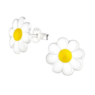 Children's Silver Flower Ear Studs with Epoxy
