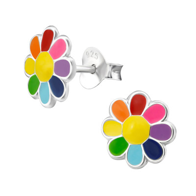 Children's Silver Flower Ear Studs with Epoxy