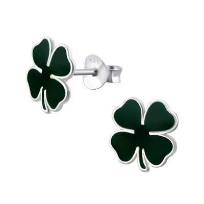 Children's Silver Lucky Clover Ear Studs with Epoxy