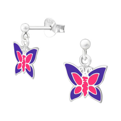 Children's Silver Ball Ear Studs with Hanging Butterfly and Epoxy