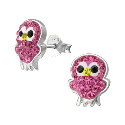 Owl Children's Sterling Silver Ear Studs with Crystal