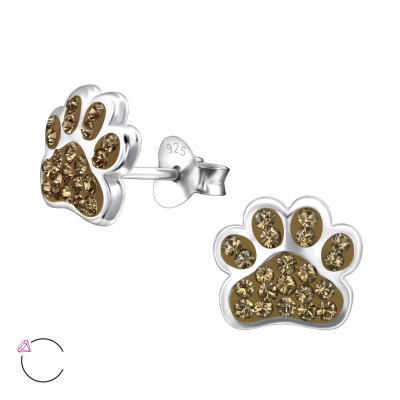 Children's Silver Paw Print Ear Studs with Genuine European Crystals