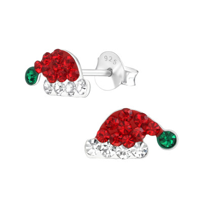 Children's Silver Santa Hat Ear Studs with Crystal