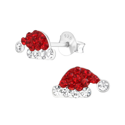 Children's Silver Christmas Hat Ear Studs with Crystal