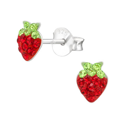 Children's Silver Strawberry Ear Studs with Crystal