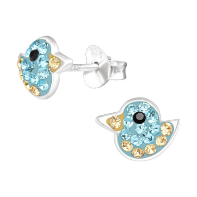 Children's Silver Duck Ear Studs with Crystal