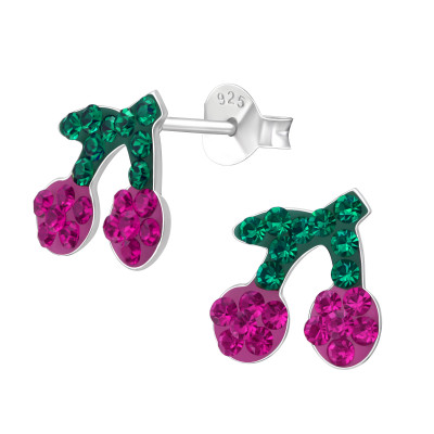 Children's Silver Cherry Ear Studs with Crystal