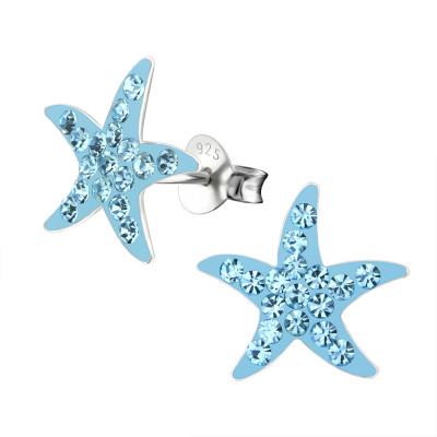 Children's Silver Star Ear Studs with Crystal