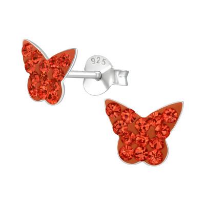 Children's Silver Butterfly Ear Studs with Crystal