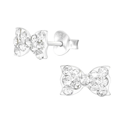 Children's Silver Bow Ear Studs with Crystal