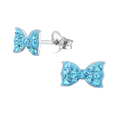 Children's Silver Ribbon Ear Studs with Crystal