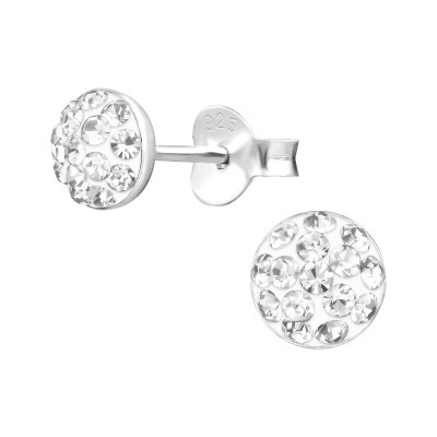 Children's Silver Round Ear Studs with Crystal