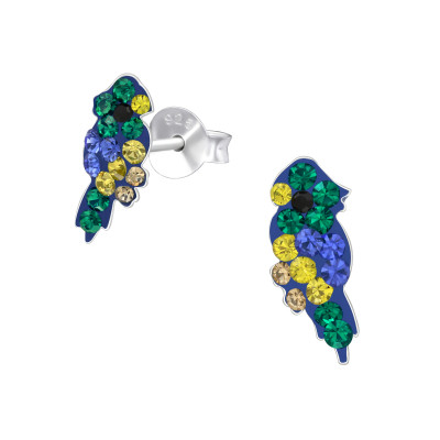 Children's Silver Parrot Ear Studs with Crystal