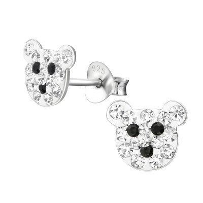 Children's Silver Bear Ear Studs with Crystal