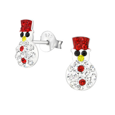 Children's Silver Snowman Ear Studs with Crystal