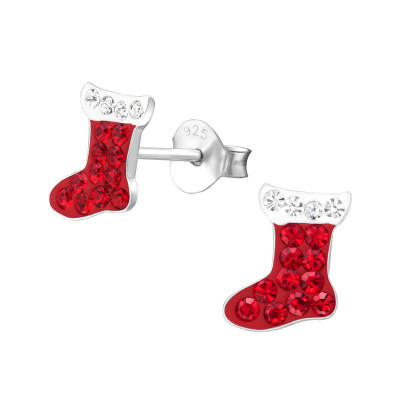 Children's Silver Christmas Stocking Ear Studs with Crystal