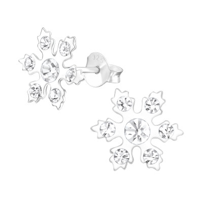 Children's Silver Snowflake Ear Studs with Crystal