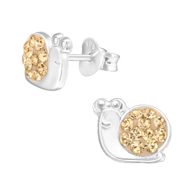 Children's Silver Snail Ear Studs with Crystal