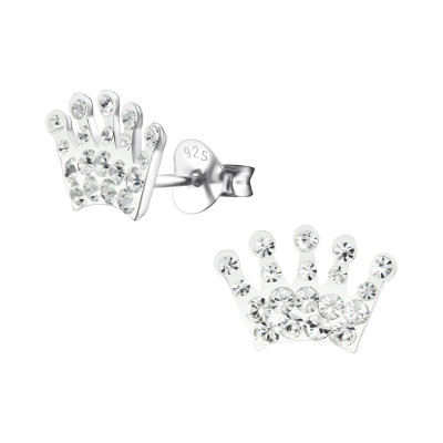 Children's Silver Crown Ear Studs with Crystal