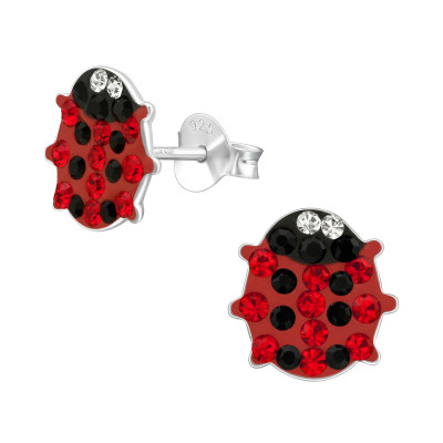 Children's Silver Ladybug Ear Studs with Crystal