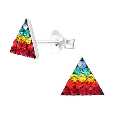 Children's Silver Triangle Ear Studs with Crystal