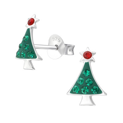 Children's Silver Christmas Tree Ear Studs with Crystal
