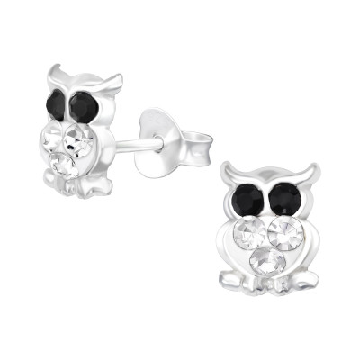 Children's Silver Owl Ear Studs with Crystal