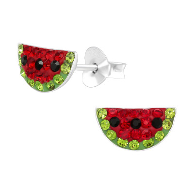 Children's Silver Watermelon Ear Studs with Crystal