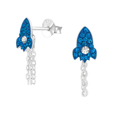 Children's Silver Rocket Ear Studs with Crystal