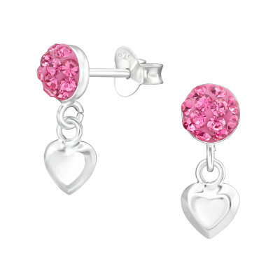 Silver Round Ear Studs with Hanging Heart and Crystal