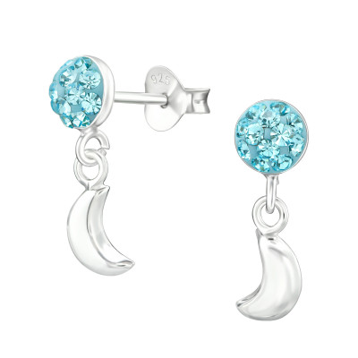 Children's Silver Round with Crystal and Hanging Moon Ear Studs