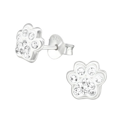 Children's Silver Paw Print Ear Studs with Crystal
