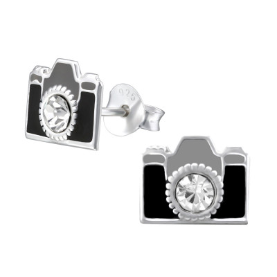 Children's Silver Camera Ear Studs with Crystal and Epoxy