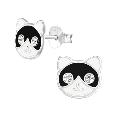 Children's Silver Cat Ear Studs with Crystal and Epoxy