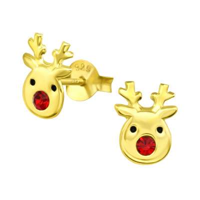 Children's Silver Reindeer Ear Studs with Crystal
