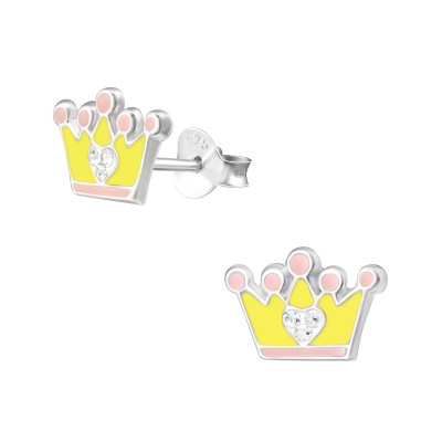 Children's Silver Crown Ear Studs with Crystal and Epoxy