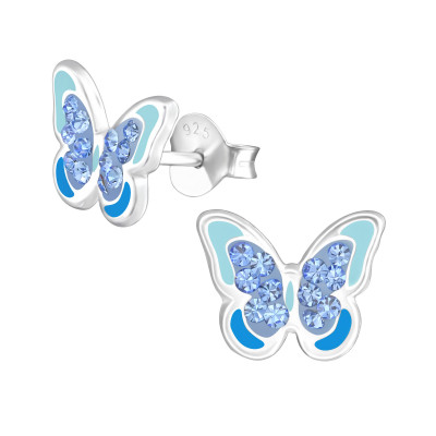 Children's Silver Butterfly Ear Studs with Crystal and Epoxy