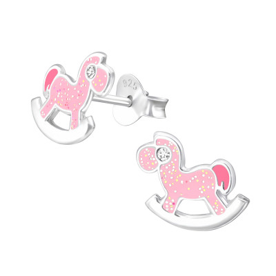 Children's Silver Rocking Horse Ear Studs with Crystal and Epoxy