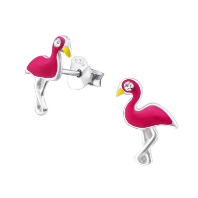 Children's Silver Flamingo Ear Studs with Crystal and Epoxy