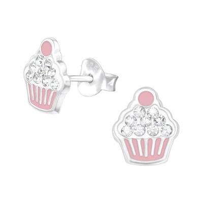 Children's Silver Cupcakes Ear Studs with Crystal and Epoxy
